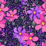 Άνευ ραφής floral σχέδιο με τα λουλούδια και τα χορτάρια Στοκ Εικόνα