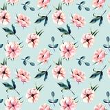 Άνευ ραφής floral σχέδιο με τα ρόδινα λουλούδια anemone και τα πράσινα φύλλα ελεύθερη απεικόνιση δικαιώματος