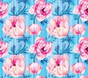 Άνευ ραφής floral σχέδιο με τα anemonies και τα λωρίδες Στοκ Εικόνα