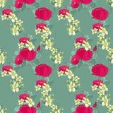 Άνευ ραφής floral σχέδιο με τα peonies Στοκ Εικόνες