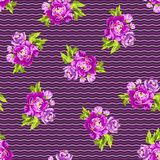 Άνευ ραφής floral σχέδιο με τα peonies Στοκ Εικόνα