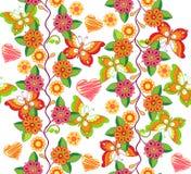Άνευ ραφής floral σχέδιο με τη Floral ταπετσαρία πεταλούδων και καρδιών Διακοσμητική διακόσμηση για το ύφασμα, υφαντικό, τυλίγοντ Στοκ Εικόνες