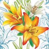Άνευ ραφής floral σχέδιο με τους κρίνους απεικόνιση αποθεμάτων