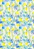 Άνευ ραφής floral σχέδιο - λουλούδια φαντασίας watercolor Στοκ εικόνα με δικαίωμα ελεύθερης χρήσης