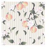 Άνευ ραφής floral σχέδιο στην αρχαία ταπετσαρία του υποβάθρου χρώματος κρέμας με τα λουλούδια, τους κλάδους ενός Apple-δέντρου κα Στοκ Εικόνες