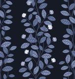 Άνευ ραφής floral σχέδιο στο μπλε υπόβαθρο Στοκ Εικόνα