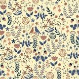 Άνευ ραφής floral σχέδιο Doodle με τα λουλούδια και τα πουλιά Στοκ Εικόνες