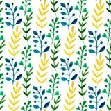 Άνευ ραφής floral σχέδιο Watercolor με τα ζωηρόχρωμους φύλλα και τους κλάδους Διανυσματικό άνοιξη χρωμάτων χεριών ή θερινό υπόβαθ Στοκ Εικόνες