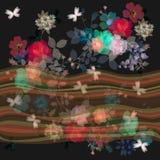 Άνευ ραφής floral σύνορα με τα κύματα και τις ανθοδέσμες διαφάνειας των λουλουδιών κηπουρικής απεικόνιση αποθεμάτων