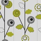 Άνευ ραφής floral ταπετσαρία με τους κύκλους και τις γραμμές Στοκ φωτογραφία με δικαίωμα ελεύθερης χρήσης