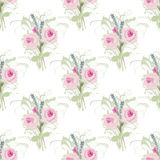 Άνευ ραφής floral υπόβαθρο με τις πολύβλαστες ανθοδέσμες των τριαντάφυλλων και lavender Στοκ φωτογραφίες με δικαίωμα ελεύθερης χρήσης