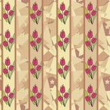 Άνευ ραφής floral υπόβαθρο σχεδίων τουλιπών Στοκ Φωτογραφίες