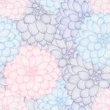 Άνευ ραφής floral υπόβαθρο χέρι-σχεδίων με τις ντάλιες λουλουδιών Στοκ Φωτογραφία