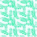 Άνευ ραφής floral φύλλα φτερών σχεδίων πράσινα στο άσπρο απόθεμα Στοκ Εικόνα
