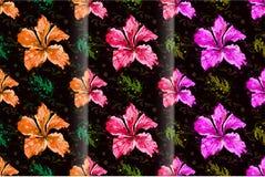 Άνευ ραφής hibiscus ανθίζουν το ημι αφηρημένο ύφος Στοκ Εικόνες