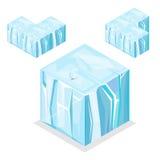 Άνευ ραφής Isometric κύβοι φραγμών παιχνιδιών, ατελείωτος παγετώνας παγόβουνων φύσης Στοκ Εικόνες