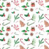 Άνευ ραφής patern απεικόνιση Χριστουγέννων, συρμένο χέρι watercolor δ απεικόνιση αποθεμάτων
