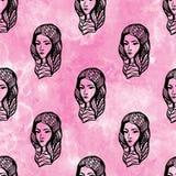 Άνευ ραφής patern των προσώπων κοριτσιών Στοκ εικόνες με δικαίωμα ελεύθερης χρήσης