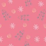 Άνευ ραφής snowflake και δέντρων κόκκινη ανασκόπηση προτύπων Στοκ Εικόνες