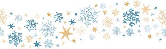 Άνευ ραφής snowflake, σύνορα αστεριών διανυσματική απεικόνιση
