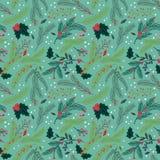 Άνευ ραφής Tileable Χριστουγέννων σχέδιο υποβάθρου διακοπών Floral Στοκ Εικόνες
