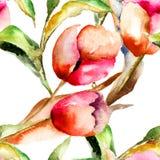 Άνευ ραφής wapapers με τα λουλούδια τουλιπών Στοκ Εικόνες