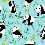 Άνευ ραφής watercolor σχεδίων των πράσινων φύλλων μπαμπού και του panda, απεικ ελεύθερη απεικόνιση δικαιώματος