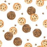 Άνευ ραφής watercolor σχεδίων chocolatechip και μπισκότα σοκολάτας, υπόβαθρο επιδορπίων στο άσπρο υπόβαθρο στοκ φωτογραφία με δικαίωμα ελεύθερης χρήσης