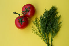 Άνηθος και δύο ντομάτες στο κίτρινο υπόβαθρο Στοκ φωτογραφία με δικαίωμα ελεύθερης χρήσης