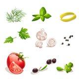Άνηθος, μαϊντανός, ντομάτα, μανιτάρια, ελιές, βασιλικός, μαύρο πιπέρι απεικόνιση αποθεμάτων