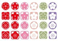 Άνθη και δαμάσκηνο κερασιών - σύνολο εικονιδίων διανυσματική απεικόνιση