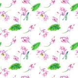 Άνθη και λουλούδια του άνευ ραφής σχεδίου watercolor λωτού ελεύθερη απεικόνιση δικαιώματος
