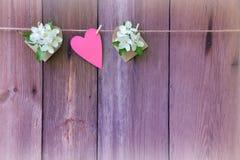 Άνθος και καρδιά της Apple στο ξύλινο υπόβαθρο Ρομαντικός τονισμός Στοκ φωτογραφία με δικαίωμα ελεύθερης χρήσης