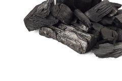 Άνθρακα υπόβαθρο πετρών που απομονώνεται ορυκτό στο λευκό Στοκ Εικόνες