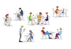Άνθρωποι, άνδρες και γυναίκες που κάθονται στο café στο επίπεδο σχέδιο Ελεύθερη απεικόνιση δικαιώματος