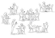 Άνθρωποι, άνδρες και γυναίκες που κάθονται στο café στο σχέδιο περιλήψεων Διανυσματική απεικόνιση