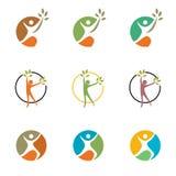 Άνθρωποι, άτομο, τρέξιμο, wellness, εορτασμός, λογότυπο, υγεία, οικολογίας υγιές συμβόλων διάνυσμα σχεδίου εικονιδίων καθορισμένο ελεύθερη απεικόνιση δικαιώματος