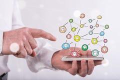 άνθρωποι δικτύων ομάδας έννοιας δυαδικού κώδικα ανασκόπησης κοινωνικοί Στοκ εικόνα με δικαίωμα ελεύθερης χρήσης