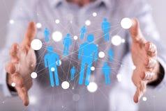 άνθρωποι δικτύων ομάδας έννοιας δυαδικού κώδικα ανασκόπησης κοινωνικοί Στοκ Εικόνες