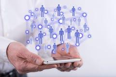άνθρωποι δικτύων ομάδας έννοιας δυαδικού κώδικα ανασκόπησης κοινωνικοί Στοκ Φωτογραφία
