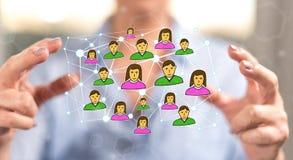 άνθρωποι δικτύων ομάδας έννοιας δυαδικού κώδικα ανασκόπησης κοινωνικοί Στοκ Φωτογραφίες