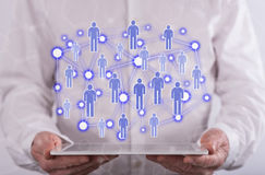 άνθρωποι δικτύων ομάδας έννοιας δυαδικού κώδικα ανασκόπησης κοινωνικοί Στοκ Εικόνα