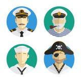 Άνθρωποι ειδώλων επάγγελμα ναυτικός, πειρατής, καπετάνιος Διανυσματικό επίπεδο σχέδιο διανυσματική απεικόνιση