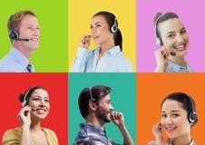 Άνθρωποι εξυπηρέτησης πελατών τηλεφωνικών κέντρων στα ζωηρόχρωμα τετραγωνικά τμήματα στοκ εικόνα με δικαίωμα ελεύθερης χρήσης