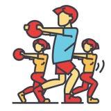 Άνθρωποι ικανότητας στην έννοια γυμναστικής προγύμνασης απεικόνιση αποθεμάτων