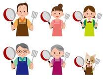 Άνθρωποι και κατοικίδια ζώα στο μάγειρα ελεύθερη απεικόνιση δικαιώματος