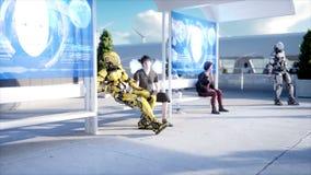 Άνθρωποι και ρομπότ Sci σταθμός FI Φουτουριστική μεταφορά μονοτρόχιων σιδηροδρόμων Έννοια του μέλλοντος Ρεαλιστική 4K ζωτικότητα απόθεμα βίντεο