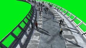 Άνθρωποι και ρομπότ Sci FI tonnel Φουτουριστική κυκλοφορία Έννοια του μέλλοντος Πράσινο μήκος σε πόδηα οθόνης Ρεαλιστική ζωτικότη απόθεμα βίντεο