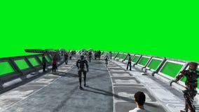 Άνθρωποι και ρομπότ Sci FI tonnel Φουτουριστική κυκλοφορία Έννοια του μέλλοντος Πράσινο μήκος σε πόδηα οθόνης Ρεαλιστική ζωτικότη φιλμ μικρού μήκους