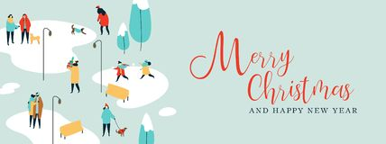 Άνθρωποι και σκυλιά στο χειμερινό πάρκο στα Χριστούγεννα απεικόνιση αποθεμάτων